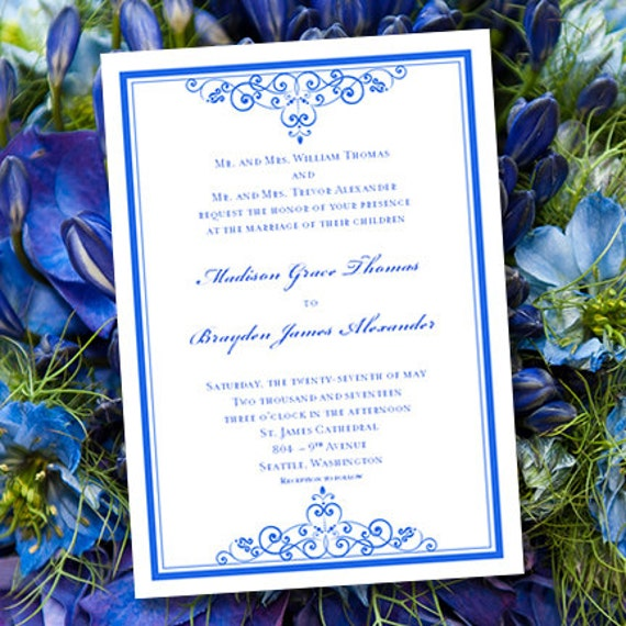 Royal Blue Wedding Invitation Template By WeddingTemplates