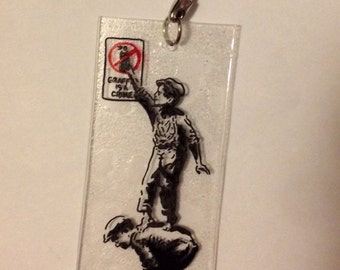 Banksy Graffiti is a Crime Keychain Necklace