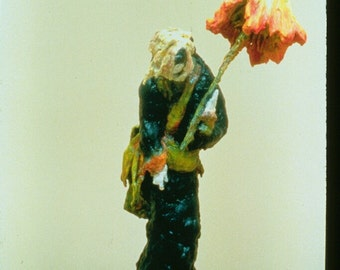 """Toshika - Unique, One of a Kind Figurative Sculpture using Fabric and Wood.  26"""" x 14"""" x 7"""""""