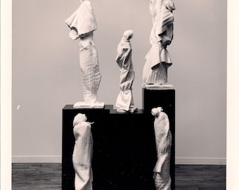 """The Spiritual Quest - Unique, One of a Kind Abstract Figurative Sculpture.  Plaster wrapped in cloth.  40"""" x 10"""" x 10"""""""