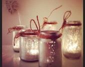 Handmade mercury glass tealight holders