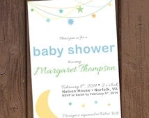 Moon and Stars Baby Shower Invitation