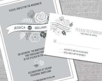 Printable Wedding Invitation and Reply Card | 5x7/3.5x5 | Contemporary Floral Invitation