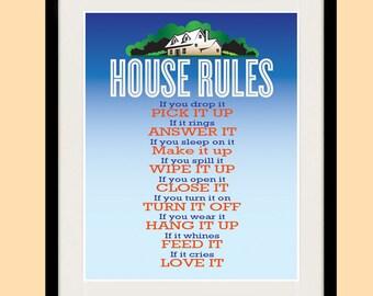 house rules poster etsy. Black Bedroom Furniture Sets. Home Design Ideas