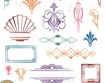 COLORFUL ART DECO Design Elements D Igital Clipart Instant Download
