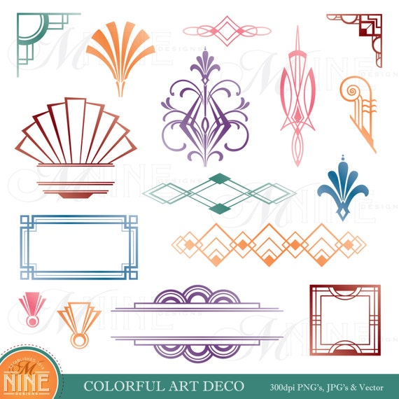 COLORFUL ART DECO Design Elements Digital Clipart Instant Download