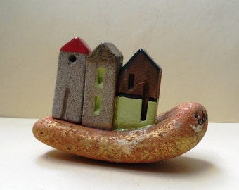Gray brown miniature ceramic houses, ceramic sculpture, on orange sea pottery . Home decor, office decoration, Gift for him. Mediterranean