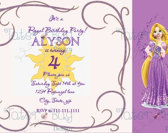 Tangled/Rapunzel Birthday Invite (Personalized, Digital File Only)