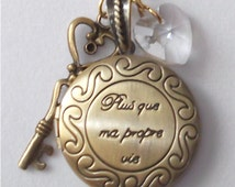 "Twilight inspired locket engraved  ""Plus que ma propre vie"" in brass"