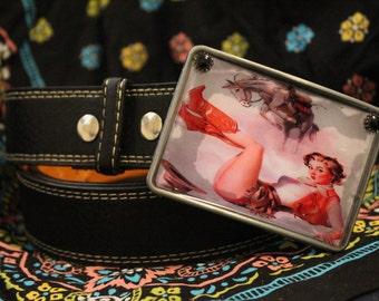 Vintage cowgirl pinup buckle