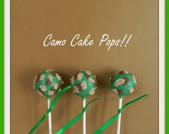 12 Camouflage Camo Cake Pops Hunting Fishing Party Birthday Favors Camping Sweets Table Candy Buffet
