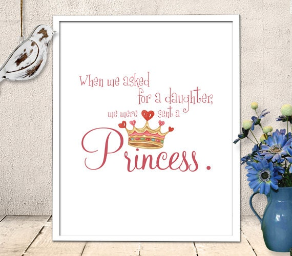Princess Girl Quotes: Nursery Art Printable Baby Girl Princess Quote Wall Art