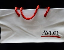 Avon Ceramic Silk Handled Bag - White and Red Ceramic - Braided Red Fiber Handle - Collectible - Historical - Vintage 1980's - Avon Quality