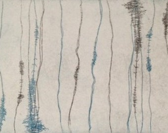 "Stitches, color etching, image size 4.5""x 8"", actual paper size, 11""x 15"""