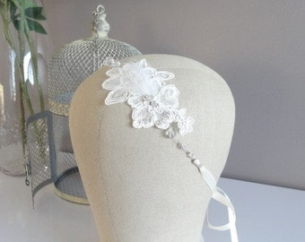 Lace and feathers Bridal Headband
