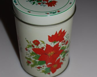 Hartin International Poinsettia Christmas Holiday Tin Box Round Cylinder