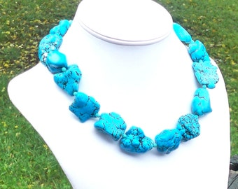 Seline - Turquoise Howlite 30mm Freeform Nugget Gemstone and Faceted Czech Glass Beaded Necklace