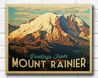 Mount Rainier Vintage Travel Art Poster - INSTANT DOWNLOAD Printable Wall Art - National Park Vintage Travel Poster - Mt Rainier Washington