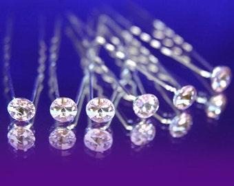 Wholesale 12 Crystal Rhinestones Hair Pins Bridal Wedding Prom Pageant Bridesmaids Free Shipping