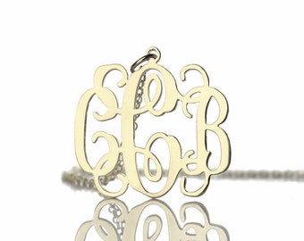Small Monogram Necklace,1 inch Personalized Monogram Necklace, 3 initials Monogrammed Necklace, 925 sterling Silver Name Necklace