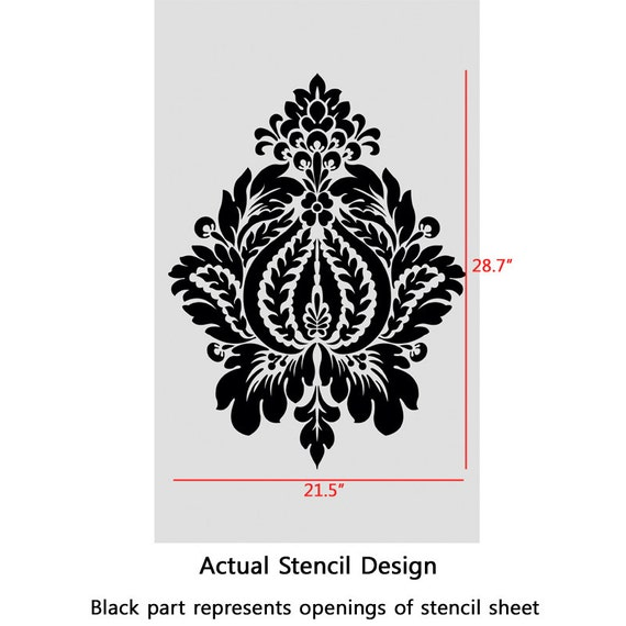 Diy Wall Stencil Template : Damask stencil norah large size wall stencils template