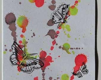 Hand printed butterflies - linocut greeting card