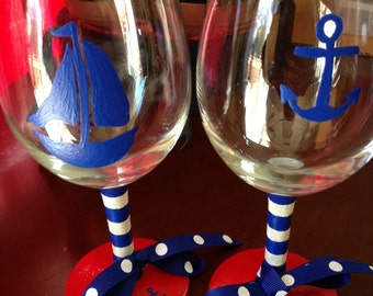 Hand Painted Pair of Two, 11 oz. Nautical Wine Glasses