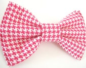 Pink Dog Bow Tie Small Medium Large Elegant Double-Stacked Removable Bowtie