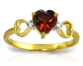 0.96 Ct 14k Solid Gold Soul Mate Garnet Diamond Ring (Yellow, White Gold, Rose Gold )