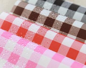 "Waterproof Fabric 0.43"" (1.1 cm) Plaid in 4 Colors"
