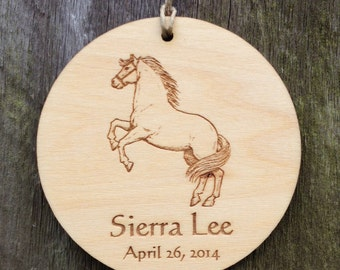 Personalized Horse Ornament: Personalized Baby Ornament/Horse Decor/Horse Nursery/Horse Favor