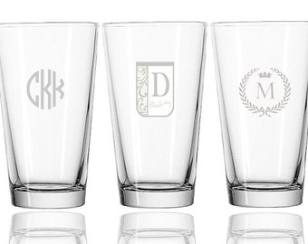 Personalized engraved pint glass 16 oz.