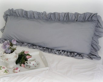 Shabby Chic Body Pillow : Shabby Chic Cottage French Country Ruffled Gray Body Pillow Cover