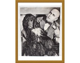 "1938 Vintage B&W Print / Vladimir Poliakoff aka Augur With Afghan Hound / 10"" x 13"" / Buy 2 ads Get 1 FREE"