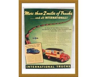 "1938 International Trucks Print AD / More than 2 miles of trucks / 10"" x 13"" / Original Color Advertisement / Buy 2 ads Get 1 FREE"