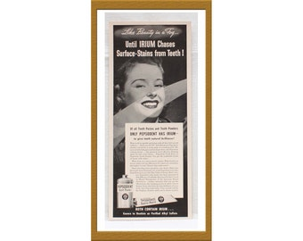 "1940 Pepsodent Tooth Paste & Powder AD / Like beauty in a fog / Original print ad / 5 1/4"" x 12 1/2"" / Buy 2 ads Get 1 FREE"