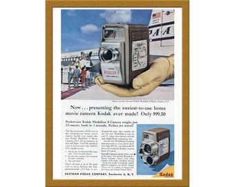 "1957 Kodak Medallion 8 Color Print AD / The easiest-to-use home movie camera / 6"" x 9"" / Original Print Ad / Buy 2 ads Get 1 FREE"