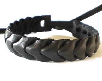 Black wide real leather tie on plaited woven wristband strap band friendship bracelet