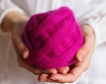 Wool Roving for needle felting, wet felting, spinning or knitting - 1 oz. Raspberry, a bright fuchsia pink - Mauch Chunky Roving