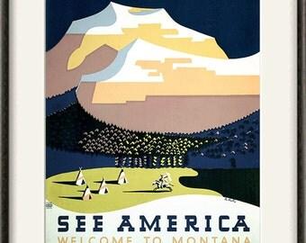 Montana art  travel print travel art print Wall poster art old prints home decor wall mountains print Americana decor travel decor 12x16 art