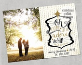 Oh Come Let Us Adore Him - customizable Christmas Holiday Family Photo Card Design Printable