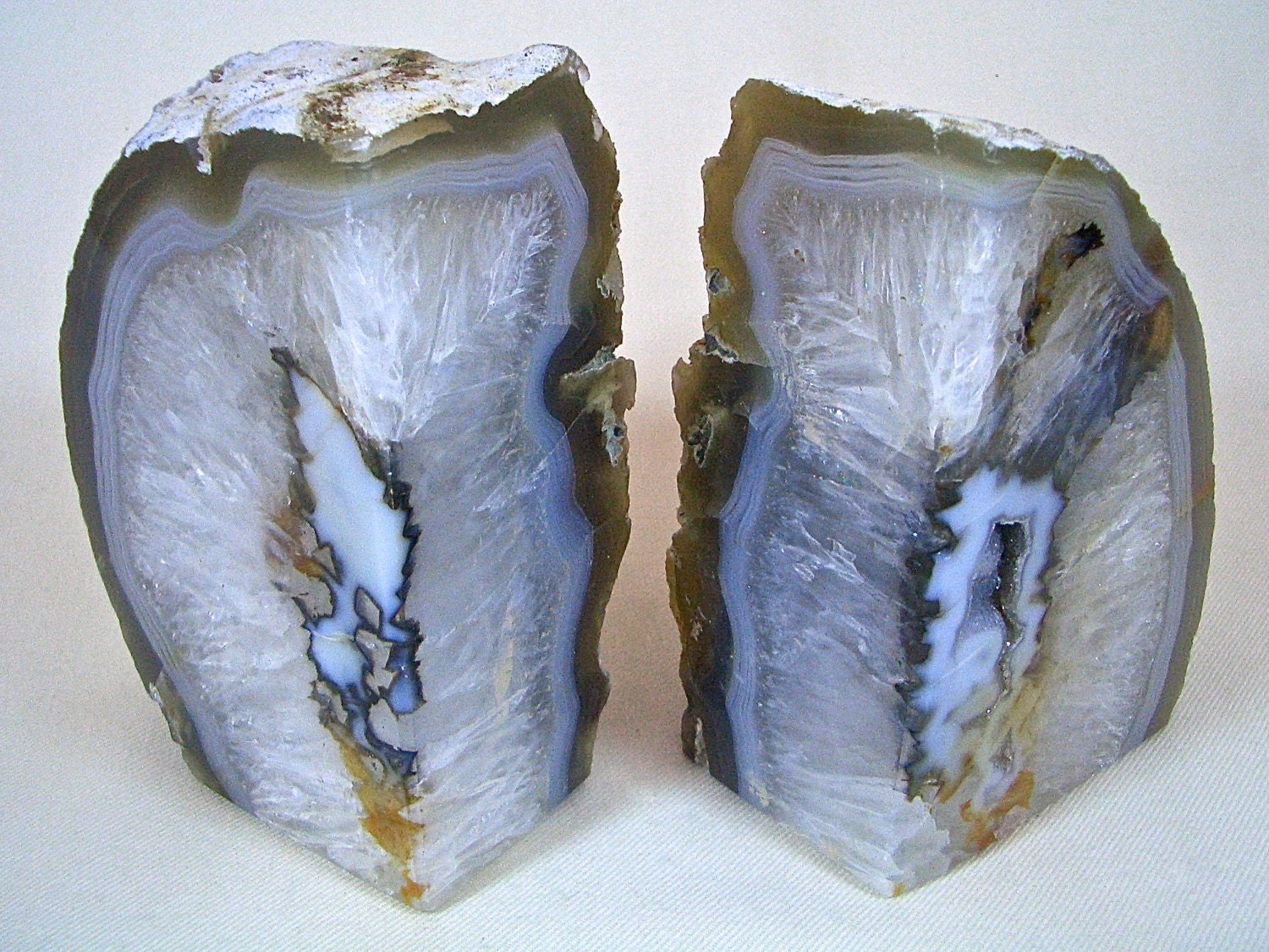 Natural quartz bookends agate crystal geode by naturalartworld - Geode bookends ...