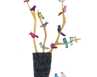 BIRDS ON A TWIG Printed card from an original collage.Lovely jewel coloured birds sitting jauntily on twigs in a vase . Very simple and fun.