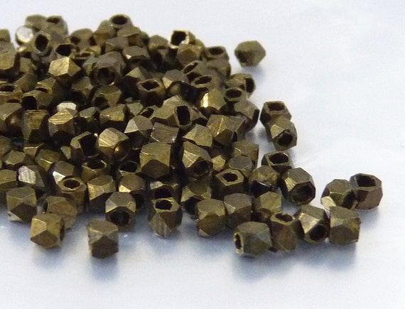 Faceted cube bead,  2.5mm, metal spacer, bronze color, light  weight - 50 pcs/ order