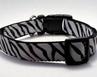 Black and White Zebra Print Medium, Large, Extra large Adjustable Quick Release Dog Collar 1 inch