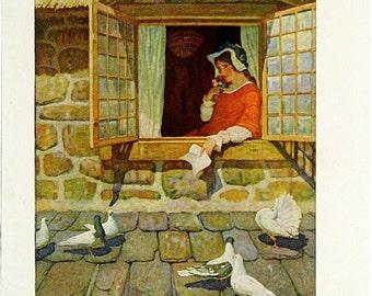 N. C. Wyeth Full Color Vintage Print Illustration 1924 * England Westward Ho! Childrens Lithograph Juvenile Adventure Book Page
