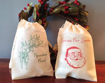 2 Santa's Cookies Reindeer Food Christmas Holiday Favor Gift Bags. Night Before Christmas Cotton Bags 5x7 6x8 7x9