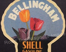 Shell Gasoline 1920s Travel Decal Magnet BELLINGHAM (WA). Accurate reproduction & hand cut in shape as designed. Nice Travel Decal Art.