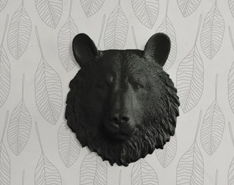 The Mini Kodiak Faux Bear Head by Wall Charmers - Ceramic Mounted Fauxidermy Fake Resin Animal Taxidermy Decorative Plastic Mount Wall Decor