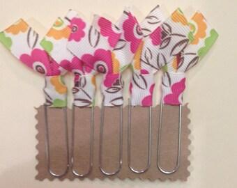 Flower ribbon, jumbo Paperclip bookmark, 5 pack bookmarks, 5/8 grosgrain ribbon, Decorative bookmark, Teacher gift, Bible Bookmark,